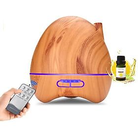 Máy khuếch tán phun sương tinh dầu  kiểu dáng bí tròn vân gỗ sáng  +  tặng Tinh dầu sả chanh thiên nhiên 10ml