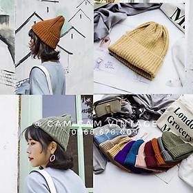 Mũ len Beanie gân xốp tone màu Vintage loại mịn xịn