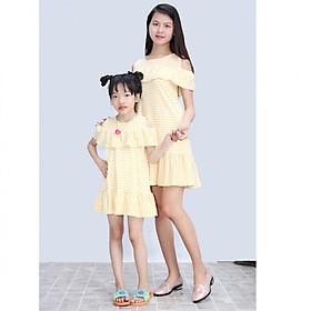 Set Đầm Suông Hạ Eo Phối Bèo Vai Cho Mẹ và Bé - Sọc Vàng