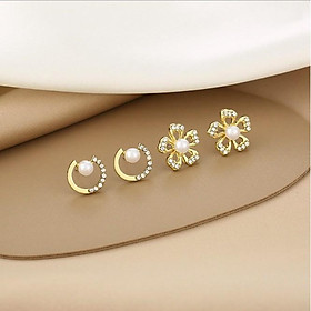 Bông tai nữ Hàn Quốc màu bạc đẹp nhỏ nhắn xinh xắn cá tính khuyên tai nữ hoa tai nữ khuyên nụ bông tai nụ hoa tai nụ