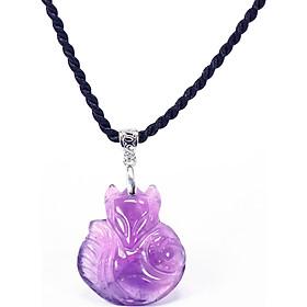 Mặt dây chuyền hồ ly 9 đuôi ôm hoa mẫu đơn đá thiên nhiên - Ngọc Quý Gemstones