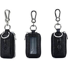 Double layer AUTO Leather Car Key Bag Keychain Unisex Genuine Pouch Card Wallets