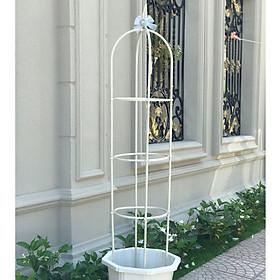 KHUNG HOA LEO THÁP CHUÔNG màu trắng - dùng làm khung cho hoa hồng leo, hoa leo - làm đẹp cho khu vườn