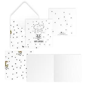 Thiệp chúc mừng sinh nhật HAPPY BIRTHDAY vuông 12cm SDstationery PANDA gấu trúc, mây, ngôi sao
