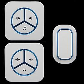 Chuông cửa đôi báo khách không dây chống nước cao cấp , không dùng pin có đèn báo Caz90092 ( Gồm 2 chuông và 1 nút nhấn )