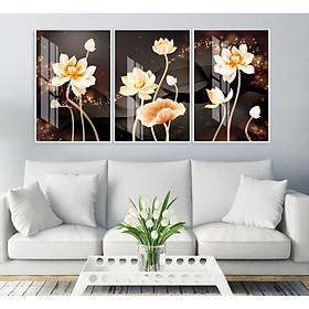 Bộ tranh 3 Bức - Tranh treo tường  phòng khách- Tranh Hoa 3D Hiện Đại H60119 /Gỗ MDF cao cấp phủ kim sa/ Chống ẩm mốc, mối mọt/Bo viền góc tròn
