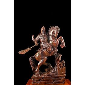Tượng gỗ mỹ nghệ- Quan Công kỵ mã- gỗ trắc đỏ đen