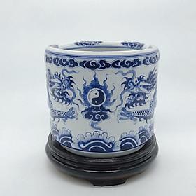 Combo bát hương xanh lam đắp nổi và đế (gỗ hương)