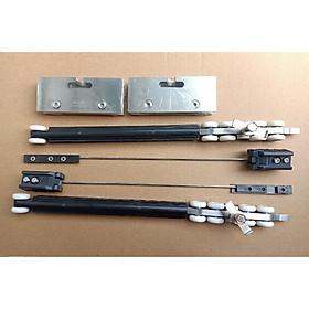 Combo bộ cửa lùa giảm chấn + 1 ray nhôm 2m + 3 nẹp ngăn nước chữ H + 3 nẹp ngăn nước chữ Y kính 10mm