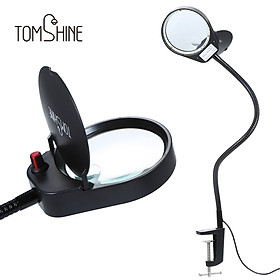 Tomshine 3X/10X Magnifying Glass Lamp with Metal Clamp Ultra Bright 38LEDs White Lighted Dimmable Desk Light Flexible