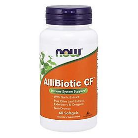 Viên Uống Now AlliBiotic CF Với Chiết Xuất Từ Tỏi, Lá Ôliu, Cây Cơm Cháy & Kinh Giới, Không Gây Buồn Ngủ (60 Viên Nang Mềm)