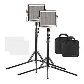 Bộ Đèn LED Trợ Sáng Chụp Ảnh Xách Tay Có Chỉnh Sáng Andoer Kèm Chân Đỡ Cho Studio (Cri95+) (3200-5600K)