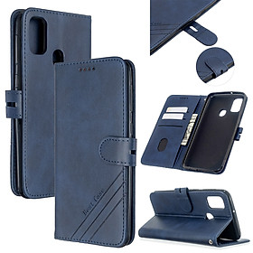 For Samsung A51/A71/M30S Case Soft Leather Cover with Denim Texture Precise Cutouts Wallet Design Buckle Closure Smartphone Shell Style