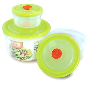 Bộ hộp nhựa đựng thực phẩm COMET 3 hộp tròn - CH1616G (Màu xanh lá)
