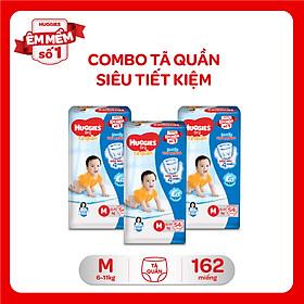 Combo 3 Gói Tã Quần Huggies Dry Gói Đại M54 (54 Miếng)