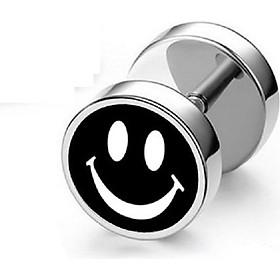 Bông tai nam nữ mặt cười cá tính inox sáng bóng  không đen