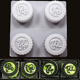 Khuôn Làm Bánh Trung Thu Rau Câu 4 Bánh 150-180gr ( Phúc Lộc Thọ Tài )