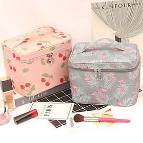 Túi đựng mỹ phẩm đồ trang điểm xách tay hình hộp họa tiết bắt mắt