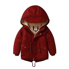 Áo khoác lót lông đỏ đô xuất khẩu bé trai 3-10 tuổi