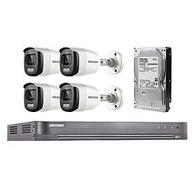 Trọn Bộ 4 Mắt Camera Hikvision Có mầu ngày đêm - Hàng chính hãng