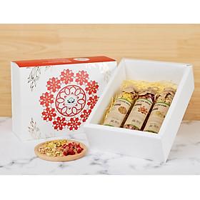 Hộp quà tặng trà hoa cao cấp - Set 5: Trà hoa nhài, Cúc vàng, Hoa hồng