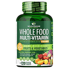 Whole Food Multivitamin for Men - Natural Multi Vitamins, Minerals, Organic Extracts - Vegan Vegetarian - Best for Daily Energy, Brain, Heart & Eye Health - 120 Tablets