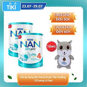 Combo 2 Sản Phẩm Dinh Dưỡng Công Thức Nestlé NAN OPTIPRO  4 Lon 900g TẶNG Gối Ôm Chuột Xám