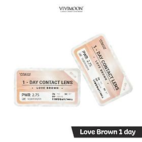 Kính Áp Tròng Hàn Quốc Nâu Tây Trong Veo Cho Mắt Thở Dùng 1 Ngày Vivimoon - Love Brown