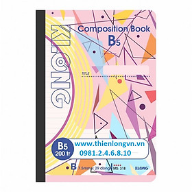Sổ may dán gáy B5 - 200 trang; Klong 318 bìa hồng