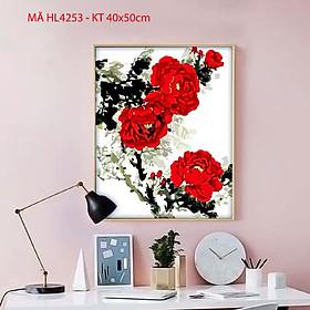 Tranh treo tường trang trí tự tô màu theo số hoa mẫu đơn đỏ HL4253