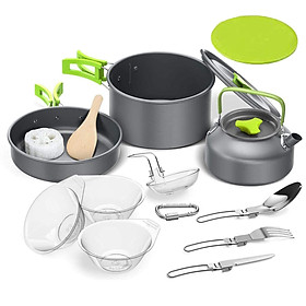 Outdoor Camping Hiking Cookware Backpacking Cooking Picnic Bowl Pot Set Stainless Steel Cook Set