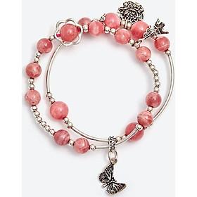 Vòng tay đôi đá đào hoa rhodochrosite phối hoa sen Ngọc Quý Gemstones