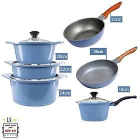 Combo 6 món cao cấp, nồi đúc chống dính ceramic Hàn Quốc đế từ xanh size 18-20-22-24cm, chảo vân đá ceramic sâu lòng size 22 cm và chảo vân đá cạn 26cm màu xanh đế từ(dùng được tất cả các bếp, kể cả bếp từ) - Hàng chính hãng