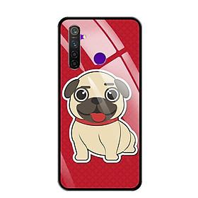 Ốp lưng kính cường lực cho điện thoại Realme 5 Pro - 0314 CUTEDOG01 - Hàng Chính Hãng