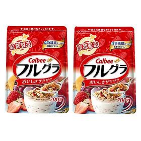 Set 02 túi ngũ cốc trái cây ăn liền Calbee (gói đỏ) - Loại 700gr - Nhập khẩu Nhật Bản