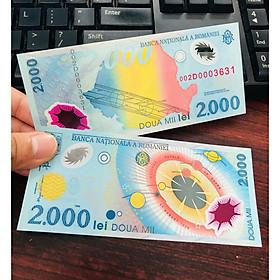 Tờ tiền Romania 2000 Lei polyme kỷ niệm thiên niên kỷ mới , kèm bao lì xì - The Merrick Mint - PVN2486