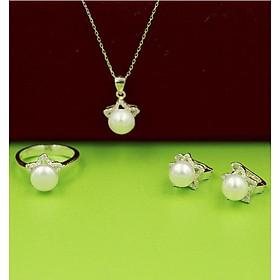 Bộ trang sức bạc đính ngọc trai nữ 3 món Dây chuyền - Nhẫn - Bông tai ngọc trai thương hiệu Opal - TS10