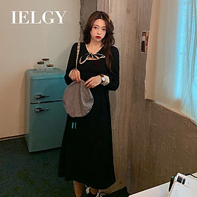 IELGY women's Korean style waist waist slim bow dress mid-length