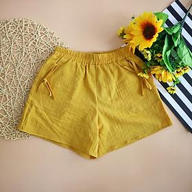 Quần short thô đũi hàng thiết kế cho bé gái 8-16 tuổi (25-48kg) phối túi dán đính nơ