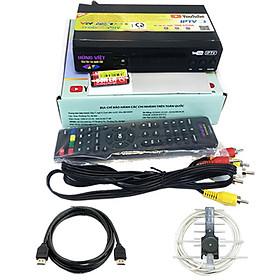 Combo đầu thu kỹ thuật số DVB T2 Hùng Việt TS-123 + anten khuếch đại 15m dây + dây HDMI