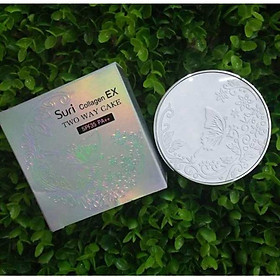 Phấn trang điểm siêu mịn Suri Collagen Two Way Cake Hàn Quốc 100g No.12 Da Sáng tăng kèm móc khoá-4