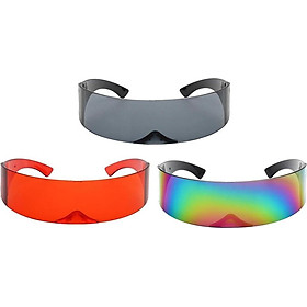 3PCS Unisex Futuristic Wrapped Around Sunglasses Robotic Sun Glasses Eyewear