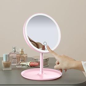 Gương Trang Điểm Để Bàn Kèm Đèn Led ( Chọn Màu ) - Tặng 1 cột tóc quả bơ