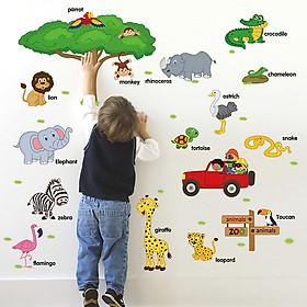 Decal dán tường từ tiếng anh về loài vật cho bé ZOOYOO SK9084-kiddecals
