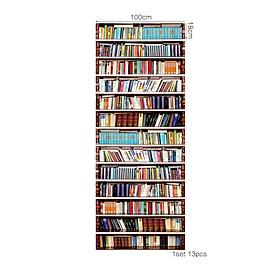 13Pcs 18x100cm 3D Bookcase Entrance Stair Risers Staircase Wall Sticker DIY Mural Decor