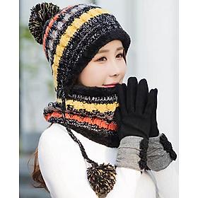 Mũ nón len nữ kèm khăn choàng cổ len thời trang Hàn Quốc dn19111312