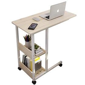 Bàn làm việc di động mini, tiện ích phù hợp mọi không gian, có giá để sách và đồ dùng cá nhân, chân bánh xe, khung sắt tĩnh điện điều chỉnh độ cao NT67, sử dụng đa năng