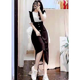 Set váy đầm yếm nữ, set yếm nữ 2 chi tiết áo tay phồng kết hợp váy yếm dáng dài-L032