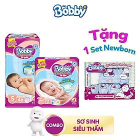 [Tặng 1 set newborn: mũ, yếm và bao tay sơ sinh] Combo 1 Tã dán Bobby XS72  và 1 Tã quần Bobby S46