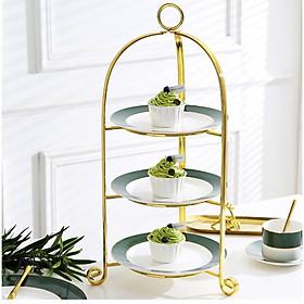 Đĩa bánh 3 tầng trang trí để bàn ăn MORANDI SILK GOLD